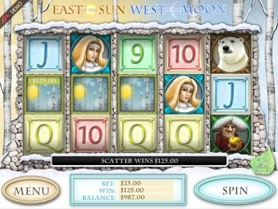 East of the Sun West of the Moon :: Three scatter symbols triggers a 125 coin payout and awards the bonus feature