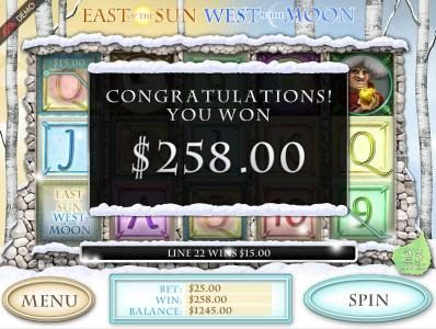 East of the Sun West of the Moon :: The free spins feature pays out a total prize award of $258