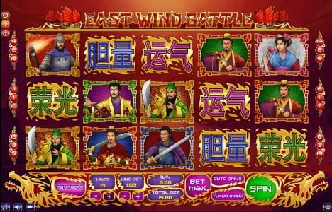 1BET featuring the Video Slots East Wind battle with a maximum payout of $150,000