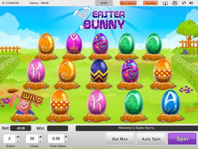 My Touch featuring the Video Slots Easter Bunny with a maximum payout of $15,000