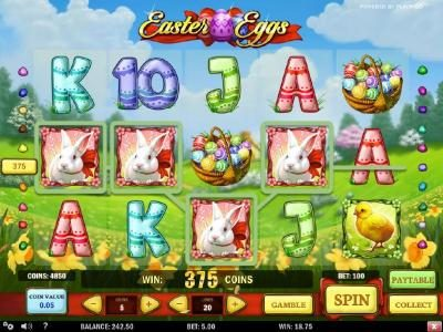 Four bunny symbols leads to a 375 coin big win!