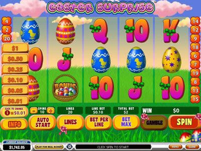 Europlay featuring the Video Slots Easter Surprise with a maximum payout of $100,000