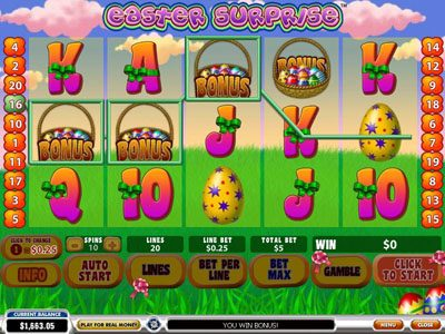 LesA Casino featuring the Video Slots Easter Surprise with a maximum payout of $100,000