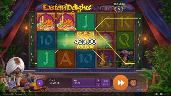 Winner Million featuring the Video Slots Eastern Delights with a maximum payout of $157,500