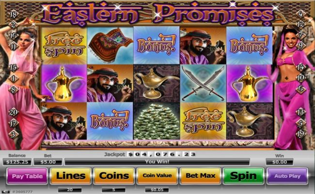 Superbet Palace featuring the Video Slots Eastern Promises with a maximum payout of $130,000