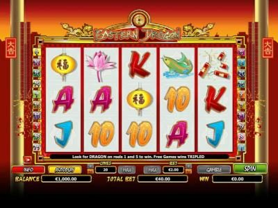 Main game board featuring five reels and 20 paylines with a $6,000 max payout