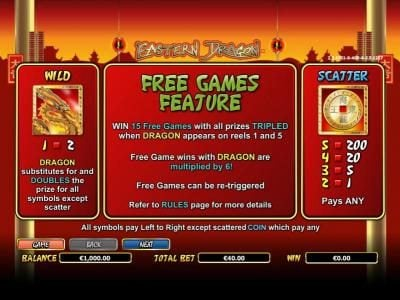 Wild symbol paytable, Scatter symbol paytable and Free Games feature rules