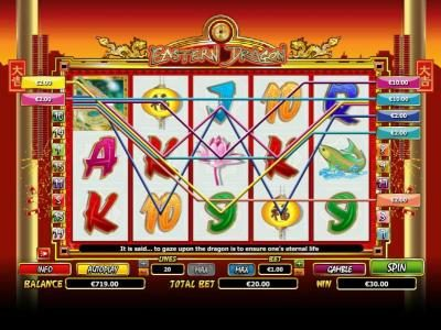 Euro King featuring the Video Slots Eastern Dragon with a maximum payout of $6,000