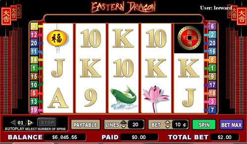 Queen Vegas featuring the video-Slots Eastern Dragon with a maximum payout of 6,000x