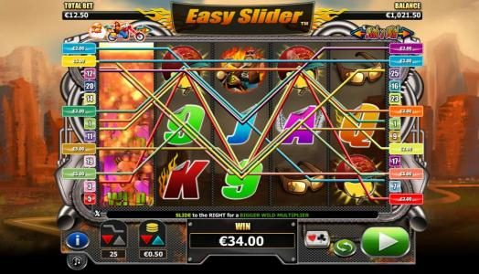 Slide a wild on reel one triggers multiple winning paylines