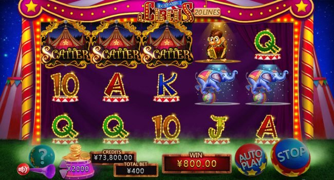 Play slots at Cyber Spins: Cyber Spins featuring the Video Slots Ecstatic Circus with a maximum payout of $2,000,000