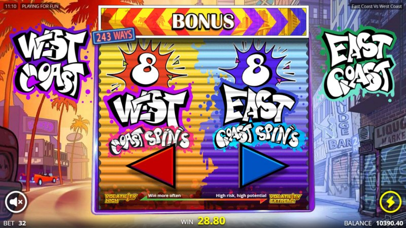 East Coast vs West Cost :: Pick your free games feature