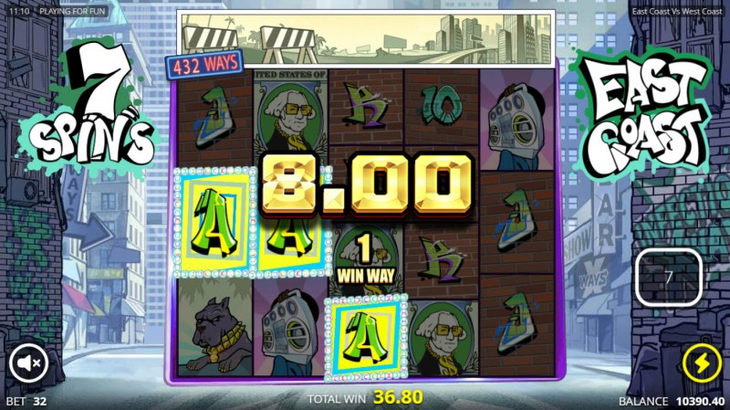 East Coast vs West Cost :: Free Spins Game Board