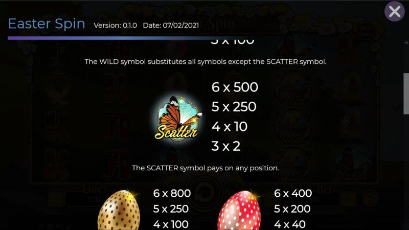 Easter Spin :: Scatter Symbol Rules