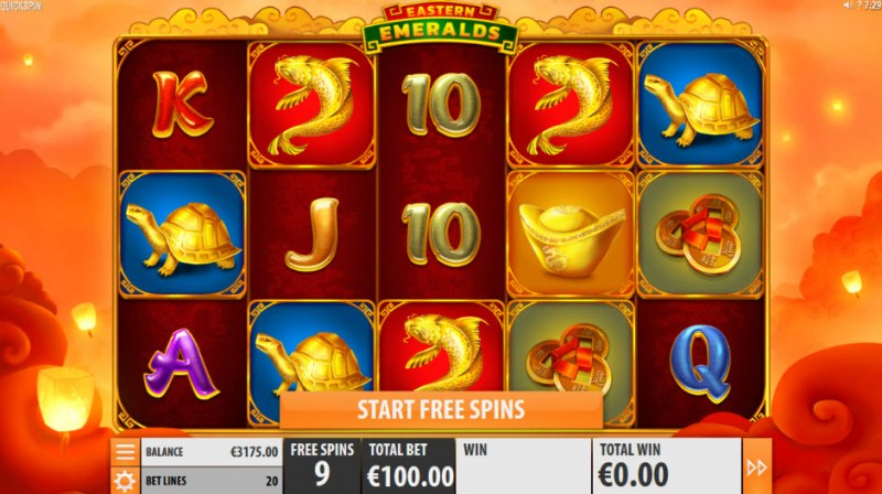 Eastern Emeralds :: Free Spins Game Board