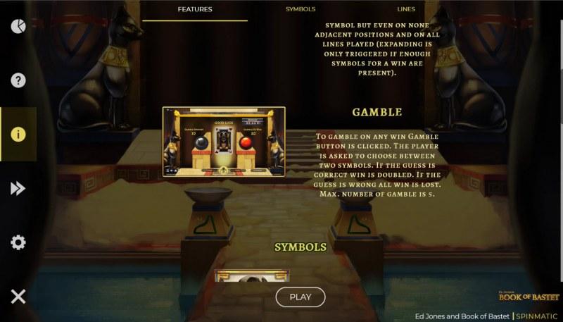 Ed Jones & Book of Bastet :: Gamble feature