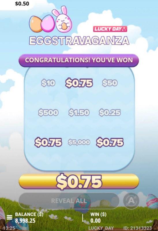 Eggstravaganza :: A three of a kind win