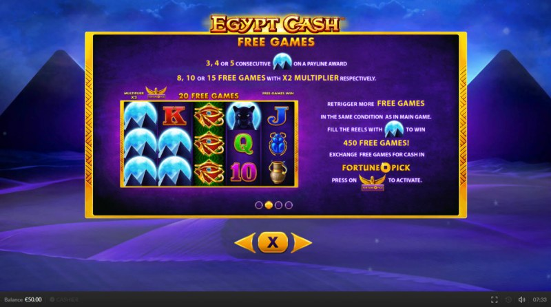 Egypt Cash :: Free Spins Rules