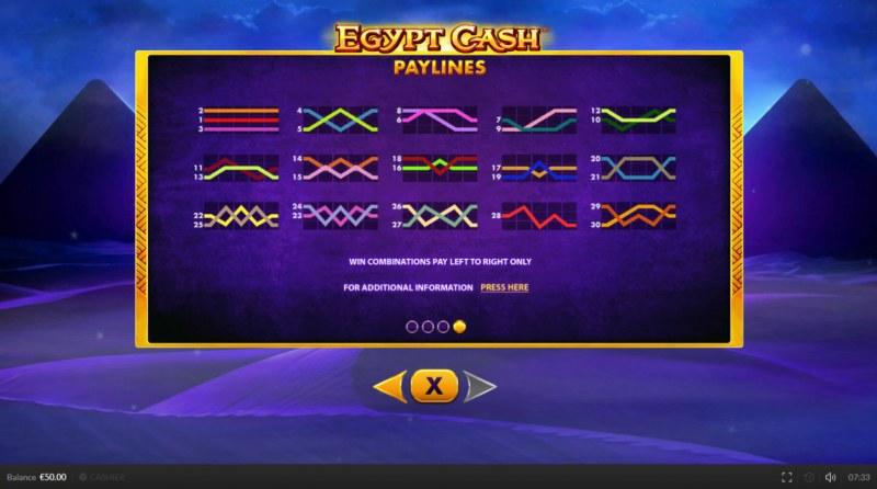Egypt Cash :: Paylines 1-30