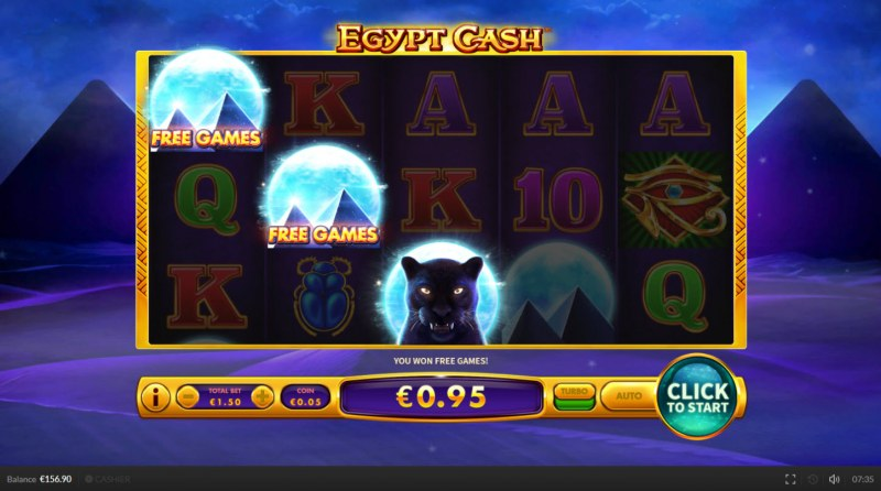 Egypt Cash :: Scatter symbols triggers the free spins feature