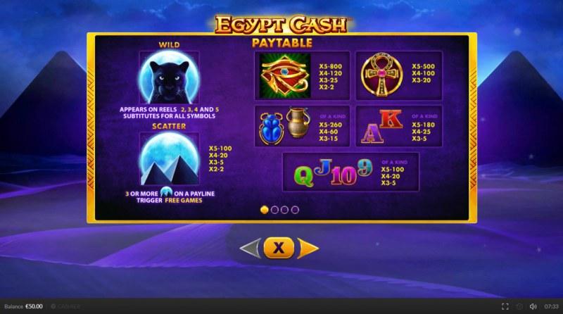 Egypt Cash :: Paytable
