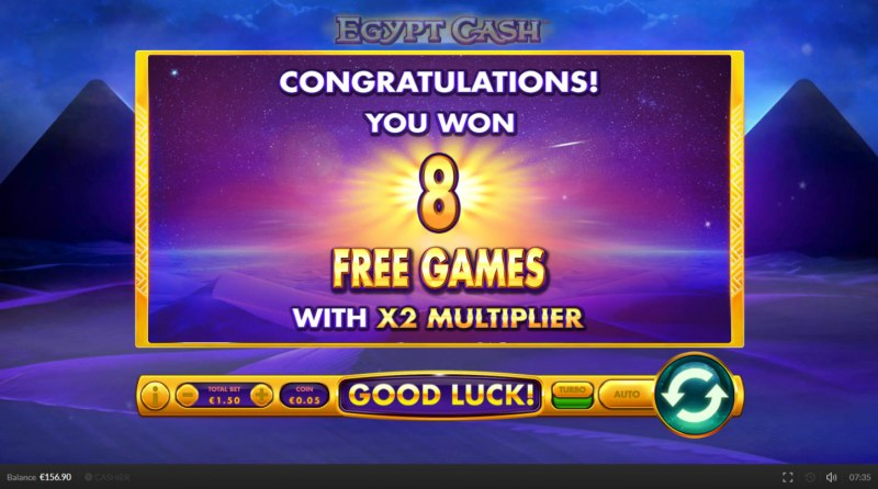 Egypt Cash :: 8 Free Spins Awarded