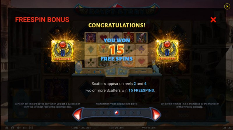 Egypt Story :: Free Spins Rules