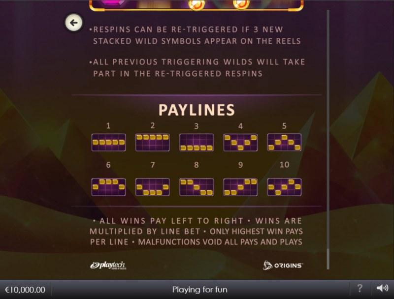 Egyptian Emeralds :: Paylines 1-10