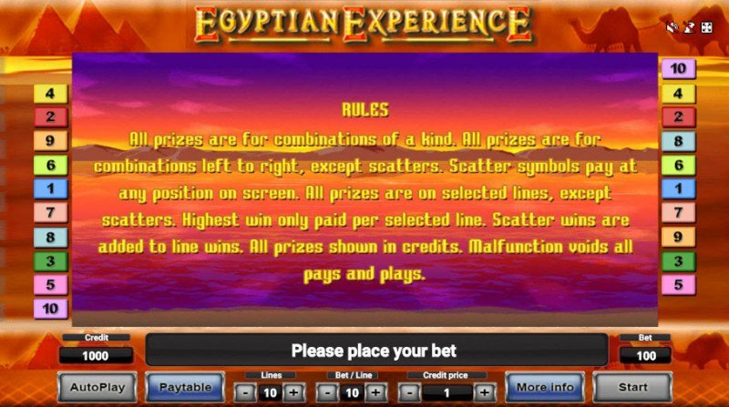 Egyptian Experience :: General Game Rules