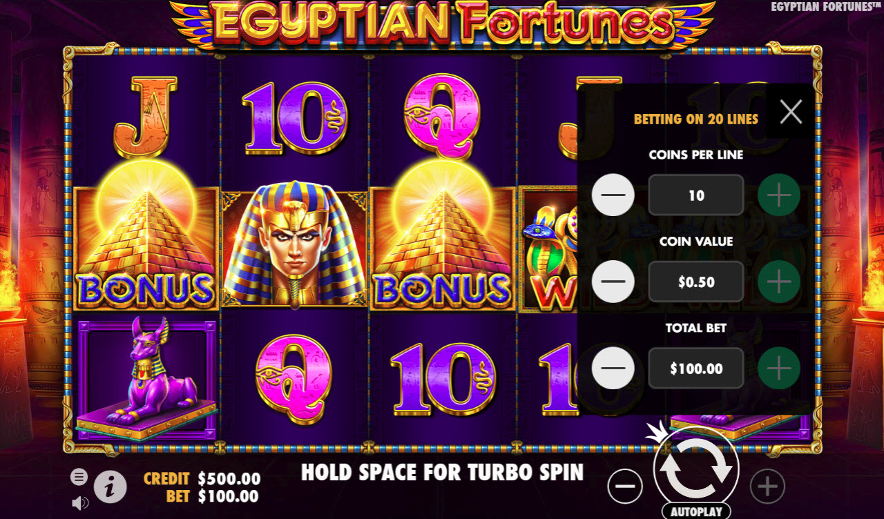 Egyptian Fortunes :: Available Betting Options