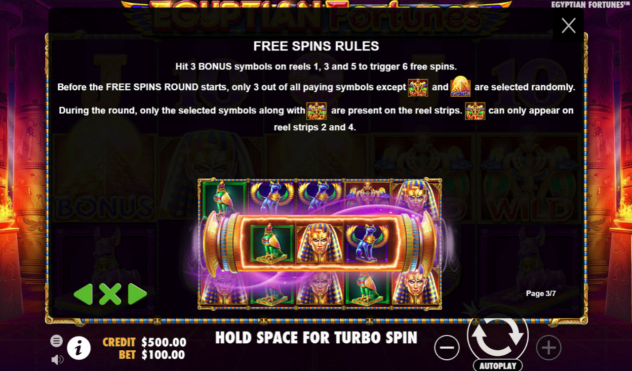 Egyptian Fortunes :: Free Spins Rules