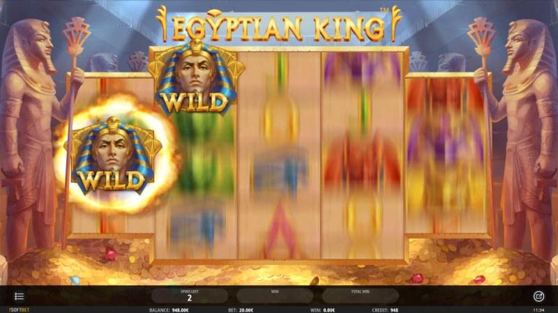 Egyptian King :: Wild symbols randomly appear on the reels