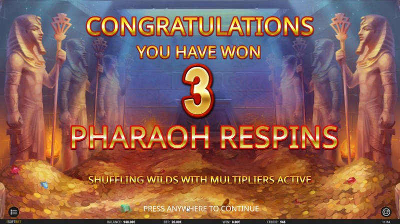 Egyptian King :: 3 Free Spins Awarded