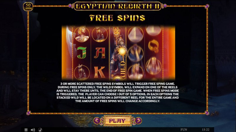Egyptian Rebirth II :: Free Spins Rules