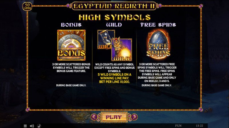 Egyptian Rebirth II :: Wild and Scatter Rules