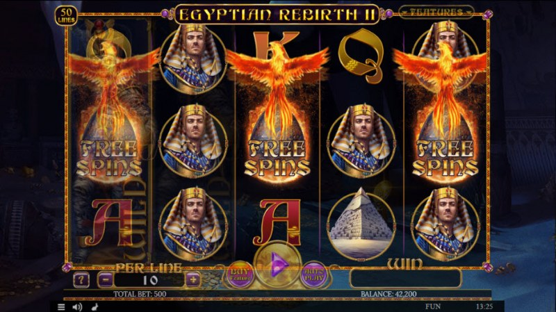 Egyptian Rebirth II :: Scatter symbols triggers the free spins feature