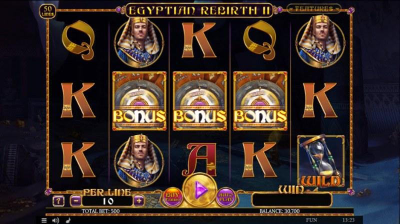 Egyptian Rebirth II :: Scatter symbols triggers bonus feature