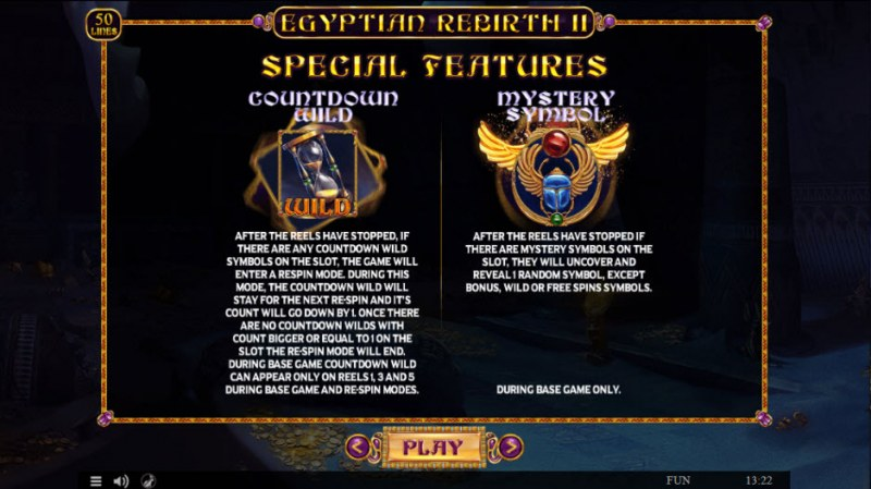 Egyptian Rebirth II :: Feature Rules