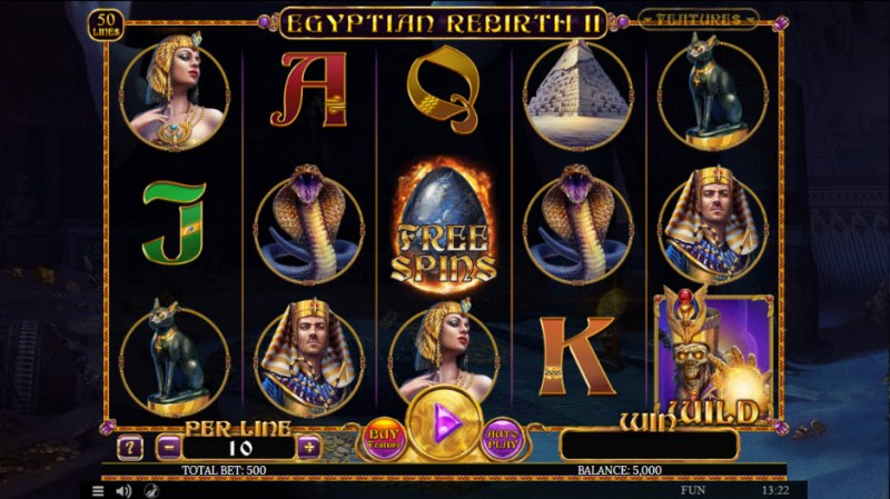 Play slots at Casino Alpha: Casino Alpha featuring the Video Slots Egyptian Rebirth II with a maximum payout of $500,000