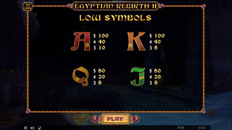 Egyptian Rebirth II :: Paytable - Low Value Symbols