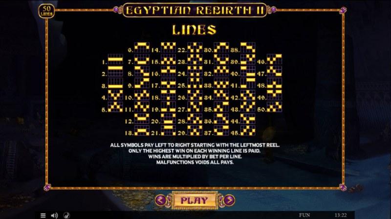 Egyptian Rebirth II :: Paylines 1-50