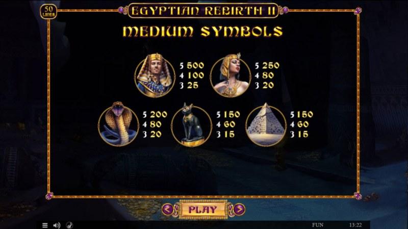 Egyptian Rebirth II :: Paytable - High Value Symbols
