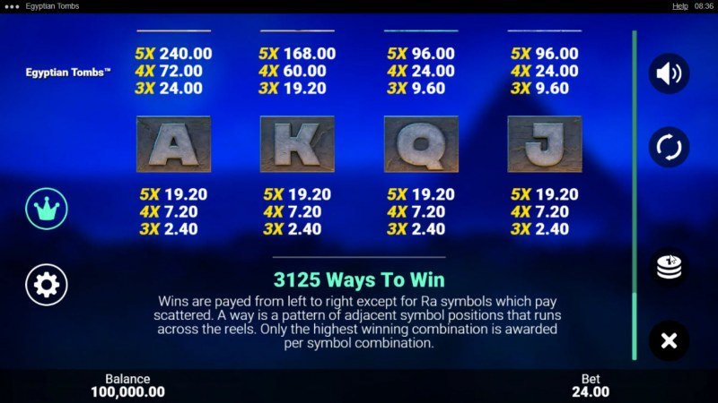 Egyptian Tombs :: 3125 Ways to Win
