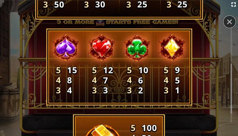 El Paso Gold :: Paytable - Low Value Symbols