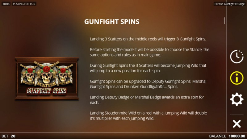 El Paso Gunfight xNudge :: Free Spin Feature Rules