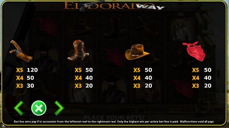 Eldorado Way :: Paytable - Low Value Symbols