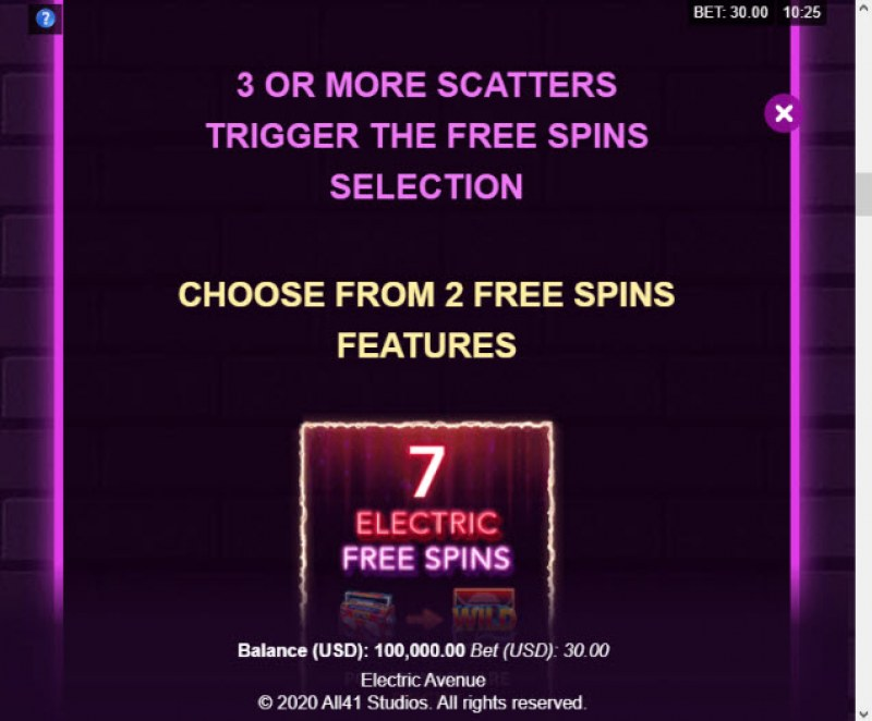 Electric Avenue :: Free Spins Rules