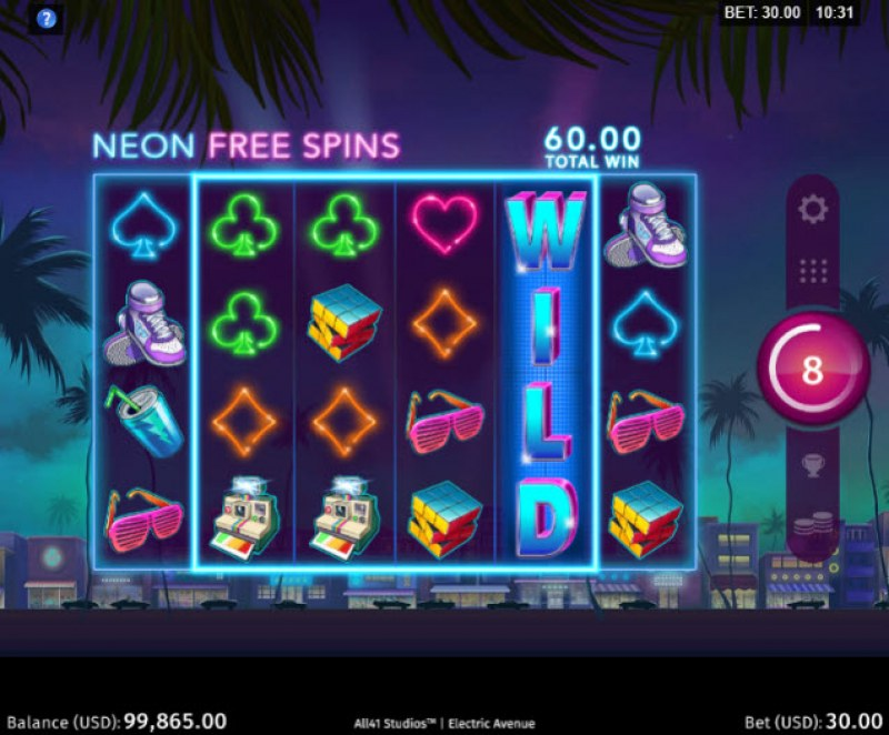 Electric Avenue :: Free Spins Game Board