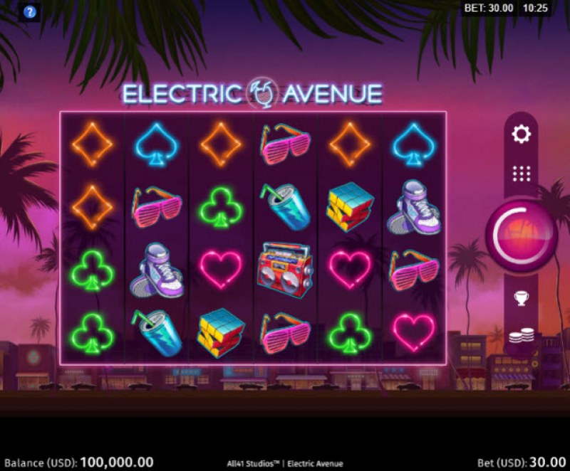 Play slots at Bet Phoenix: Bet Phoenix featuring the Video Slots Electric Avenue with a maximum payout of $205,000