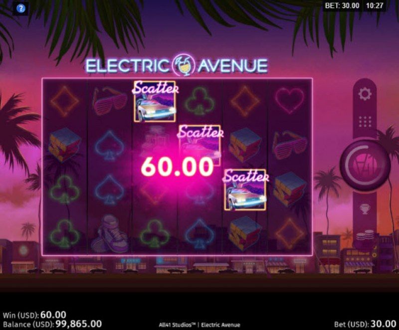 Electric Avenue :: Scatter symbols triggers the free spins feature